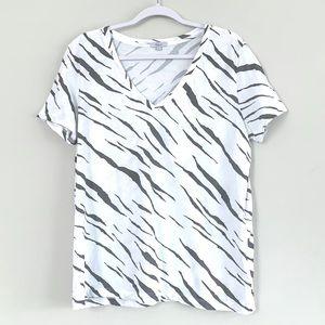 Rails Cara Abstract Tiger Print V-neck Tee Shirt